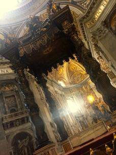 The baldacchino in St. Peter's Basilica created by Bernini.