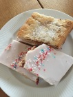 These pastries were made from two thin cookie like pastries with raspberry jam in between and a thin sugary glaze on top. Think Poptart, only fresher and more delicious!